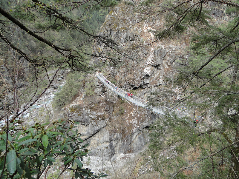 Suspension bridge, Monjo 2900m-Namche Bazaar-Tengboche-Deboche 3630m