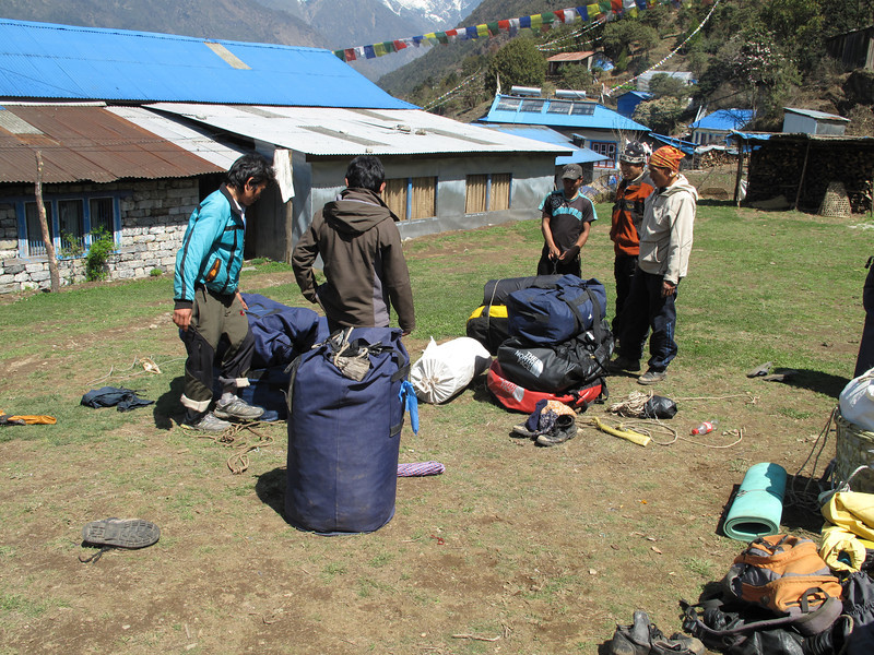 Our porters divide the luggage, Lukla 2750m