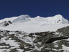 Tree summits of Mera Peak, left 6461m and right 6476m.  Mera Peak base camp (Mera La) 5350m