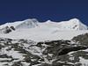 Tree summits of Mera Peak, left 6461m and right 6476m.  Mera Peak base camp (Mera La) 5350m