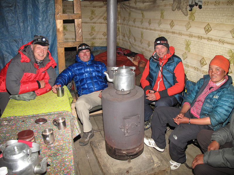 Warming up, close by the stove, Camp Kare 4950m
