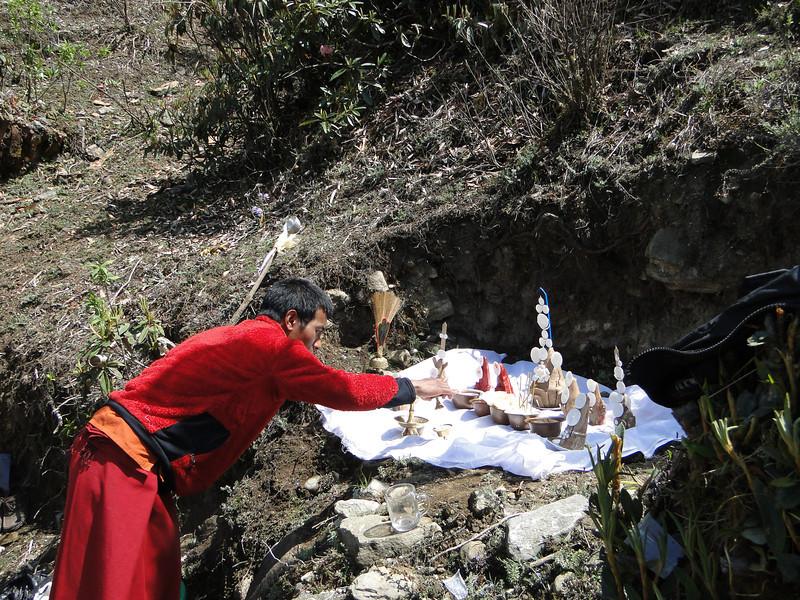 Buddhist monks, cremation ceremony, Lukla 2800m-Monjo 2900m