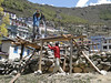 Making planks by hand sawing, Namche Bazar 3450m
