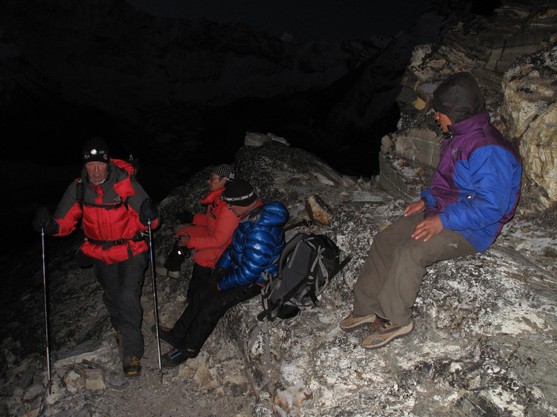 4.54h Radzu and Paul descending to Island Peak Base Camp 5000m