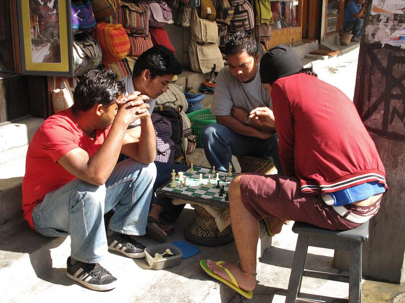 Playing a game, Thamel, Kathmandu 1300m