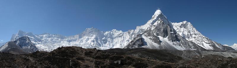 Ombigaichan 6340m and Ama Dablam, 6856m (front), near Island Peak Base Camp 5000m