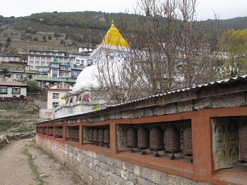 Stupa and prayer-wheels, Namche Bazar 3450m