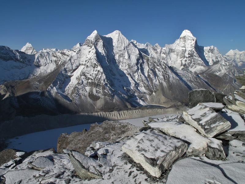 View on Imja Tsho lake of Imja Glacier and Ombigaichan 6340m and Ama Dablam 6856m, Peak Base Camp 5000m-Island Peak summit 6160m