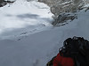 10.40h People of the Chinees expedition starting with ascend the 300m ice-wall (below on the glacier)