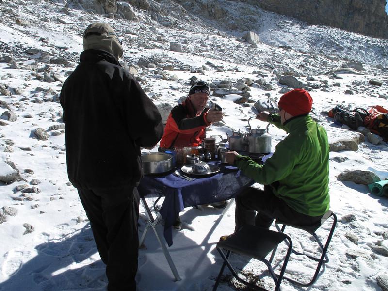 Breakfast at Mera Peak base camp (Mera La) 5350m-Mera Peak advanced camp 5800m