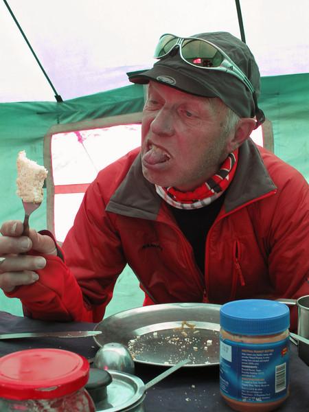 Bread with peanut butter, Island Peak Base Camp 5000m