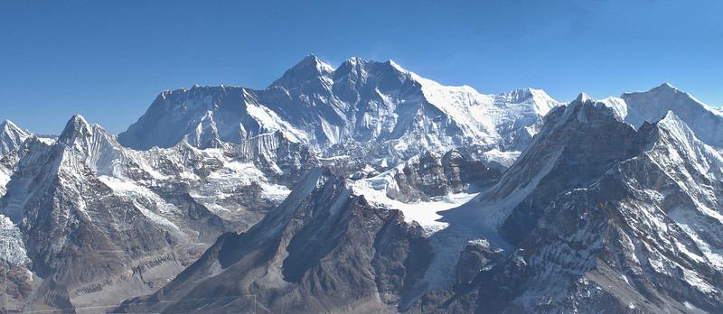 View from Mera Peak, summit 6476m, in the background Lhotse and Mount Everest