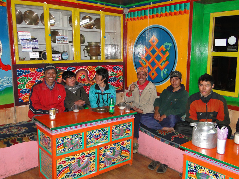 The group of porters, Expedition Farewell Party, Lukla 2800m