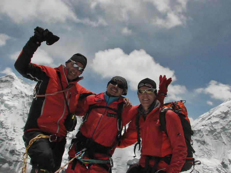 Rogier, Ang Sherpa and Marijn on the summit of Imja Tse, Island Peak 6160m
