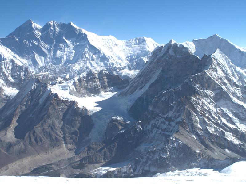Mera Peak, summit 6476m, in the background Mount Everest and Lhotse