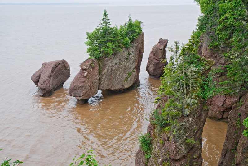 This is a photo of the same rock formations at high tide.  When we were there, high tide was 41 feet (12.5 meters).  There are places in the bay of Fundy where high tide is over 50 feet.