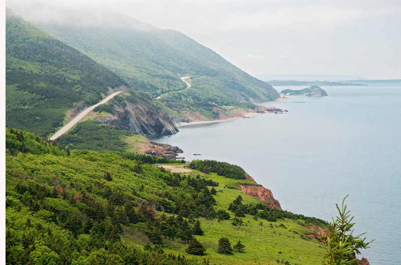 This is a scene from the Cabot Trail along the coast of Cape Breton Island, Nova Scotia.