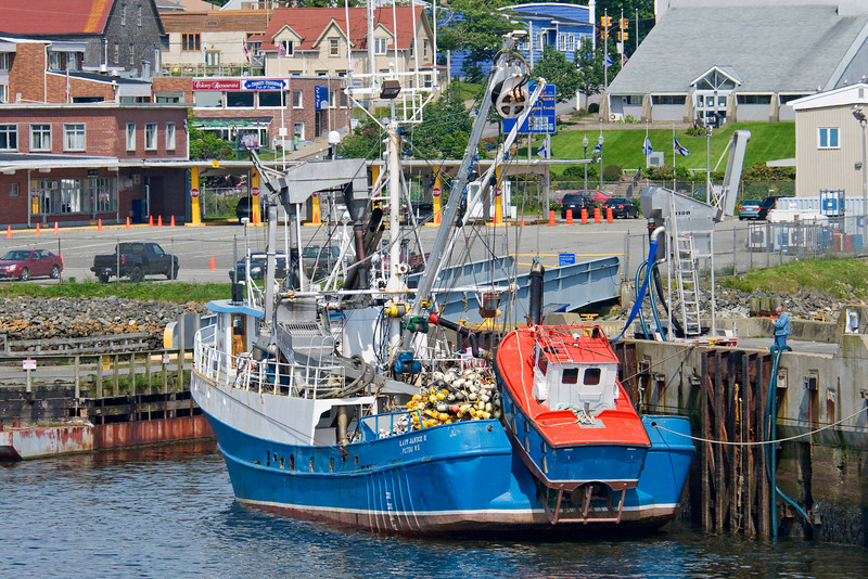 This fishing boat was tied up in Yarmouth, Nova Scotia.