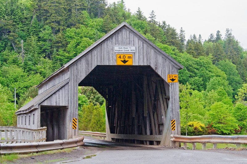 We saw several covered bridges on this trip.  This one is in St. Martins, New Brunswick.  Diana was especially interested in the metric measurement signs.  She will probably use this in the next edition of her math textbooks.