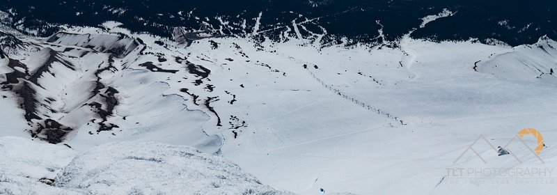 Panorama from the Newton Clark Headwall above the Steel Cliffs down towards Timberline.
