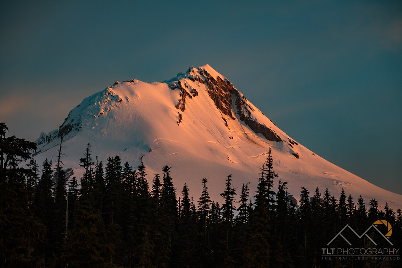 The amazing Newton Clark Headwall of Mount Hood at dawn.