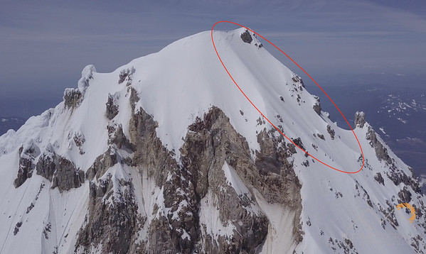 Check out this line down the northeast side of the summit of Hood!