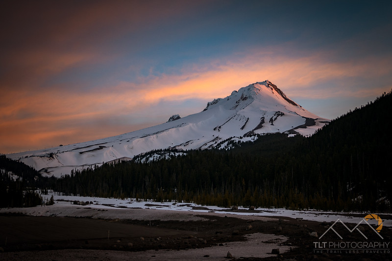 Mount Hood at dawn above the White River.