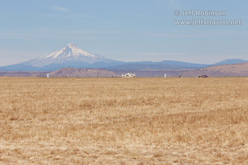 Our campsite in a hay field. Thursday night/Friday morning there was only one RV and one tent. Mt. Hood is in the background. (8/18/2017, 6152 Northwest Danube Dr., Madras eclipse trip)<br /> EF100-400mm f/4.5-5.6L IS II USM @ 164mm f8 1/800s ISO200