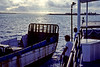 On one of our trips to Enewetak, we took a small supply freighter from Kwajalein to Enewetak. Until that trip, I thought I was immune to seasickness. I had been on many boats and ships but the supply ship was just the right size, about 35 meters long and 10 meters wide, to hit my resonant sickness frequency. The seas were mild, it was the mid-Pacific after all, but they were wavy enough to drive me below decks where I pressed my face into my bunk pillow and tried not to throw up on the overnight trip to Enewetak. I was delighted to come above decks on the morning of our arrival and take this shot.