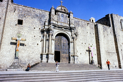 One of the many churches in Cusco Peru. I thought it would be easy to find the exact location of this building but I haven't found a door and wall that exactly match. I suspect this is a side door of the main cathedral but I'm not sure.