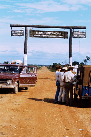 A gate marking the entrance to the Pantanal in Brazil.  The Pantanal is a large wetland and ranching region.