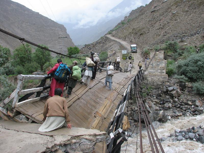 damaged suspension bridge
