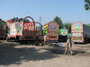 workshop with trucks  (traditional Pakistan truck workshop)
