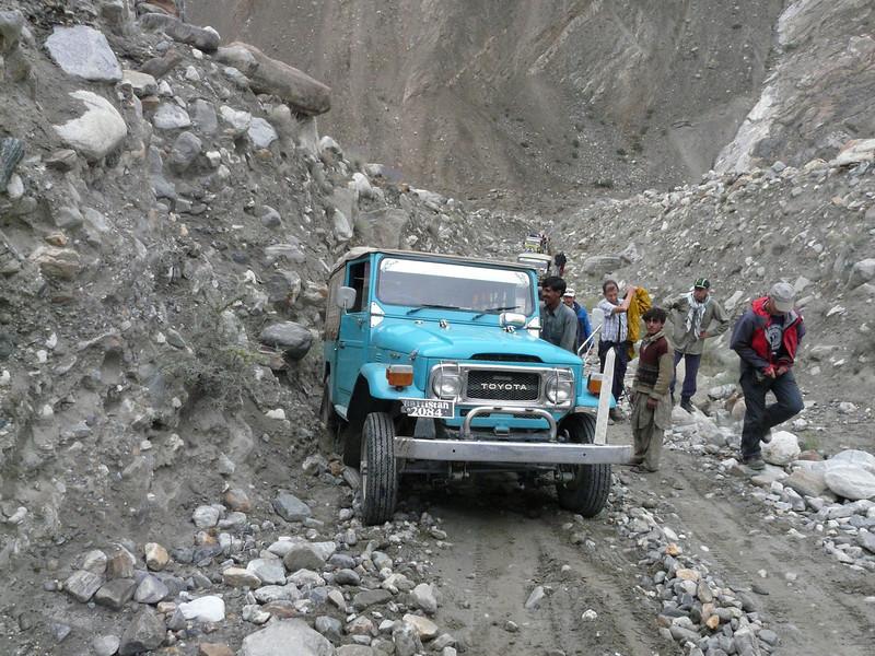 many earth slides and bad roads  (KKH)