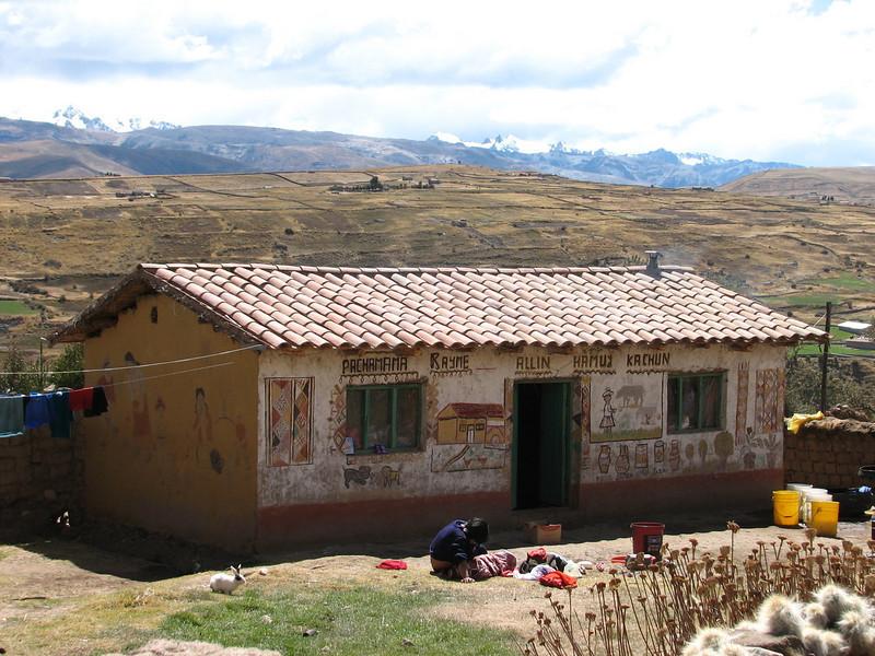 nice decorated housewalls (Peru 2009, near Tinqui 3900m. Nevado Ausangate)