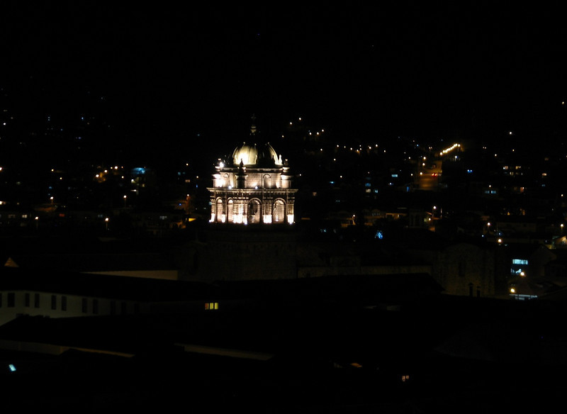 the Cathedral in the lights at night (Peru 2009, Cusco 3300m.)