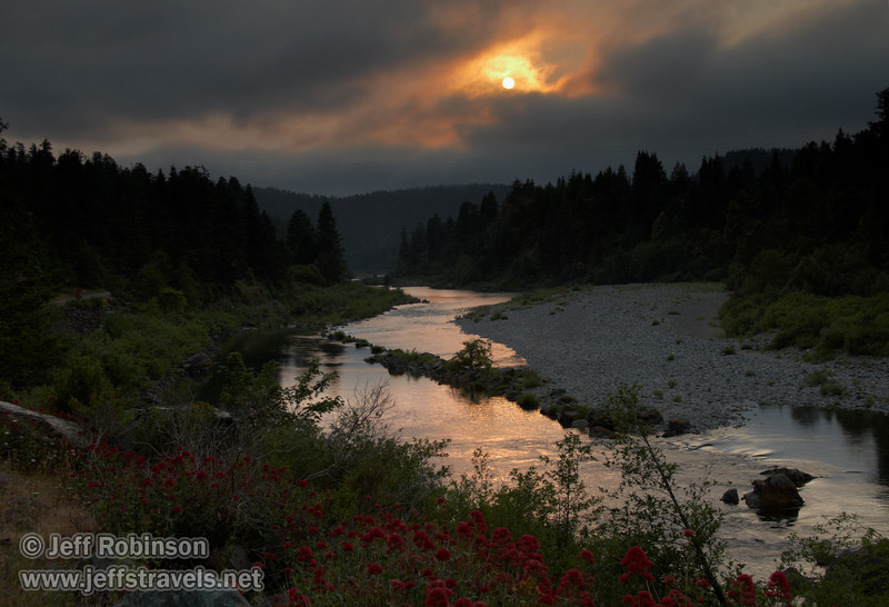 Late sun reflected in the Smith River, with reddish flowers in foreground (6/30/2008, Douglas Park Rd. east of Jedediah Smith Redwoods SP, Redwoods trip)