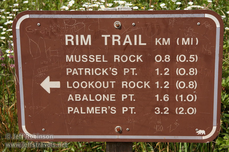 Rim Trail mileage sign (7/2/2008, Rim Trail, Patrick's Point SP, Redwoods trip)