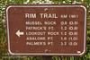 Rim Trail mileage sign (7/2/2008, Rim Trail, Patrick's Point SP, Redwoods trip)