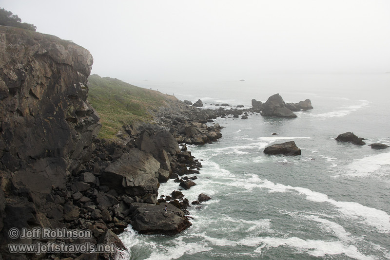 Rocky coastline with surf (7/2/2008, Rim Trail, Patrick's Point SP, Redwoods trip)