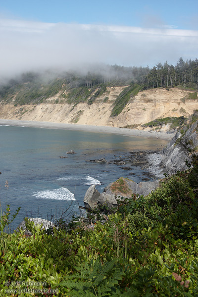 Looking back at Agate Beach with rocks & surf (7/2/2008, Rim Trail, Patrick's Point SP, Redwoods trip)
