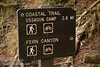 Trail sign for Fern Canyon and the Coastal Trail to Ossagon Camp (7/1/2008, Fern Canyon trail,  Prairie Creek Redwoods SP, Redwoods trip)