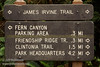 James Irvine Trail sign (7/1/2008, Fern Canyon trail,  Prairie Creek Redwoods SP, Redwoods trip)
