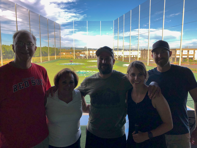 The family at Top Golf in Hillsboro.  Love this place.