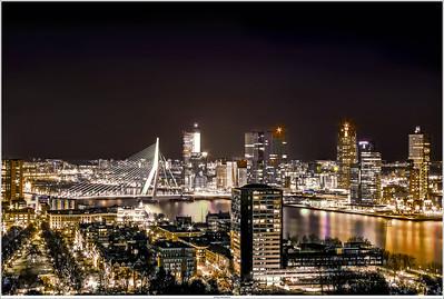 Nightview on the skyline of Rotterdam NL