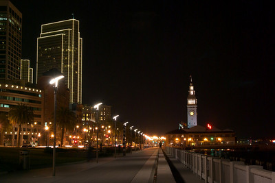 The view towards the Ferry Building and Embarcadero from the Bay Bridge