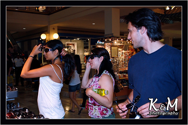 Preethi, Monique and Ricardo shopping for Sunglasses