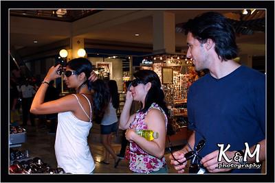 Preethi, Monique and Ricardo shopping for Sunglasses