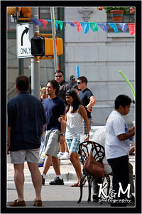 Ricardo and Preethi Crossing the Street
