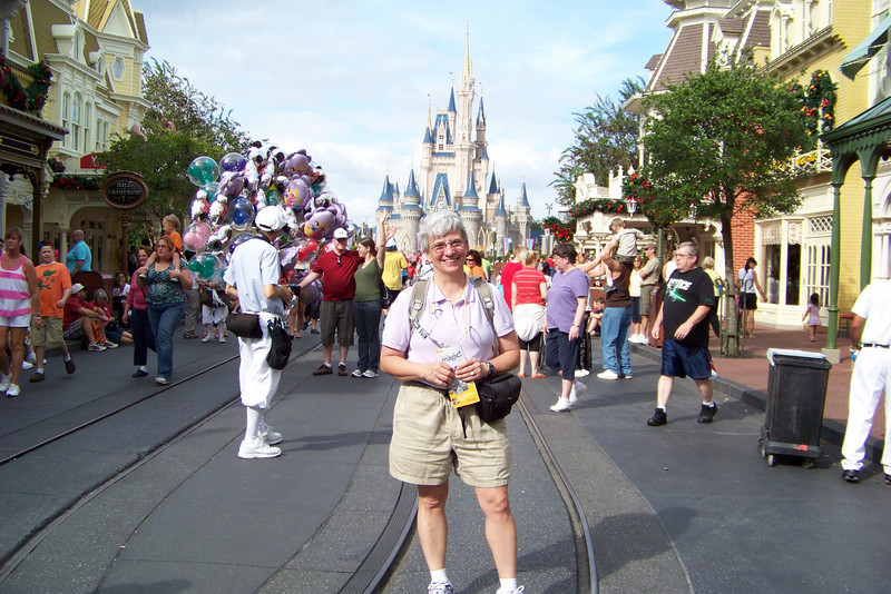 Jeane is excited to be visiting her favorite theme park, the Magic Kingdom.  This is the view up Main Street, USA to Sleeping Beauty's castle.